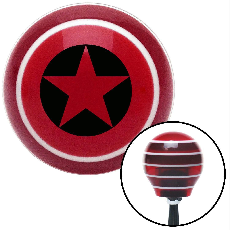 Black Star in Circle Red Stripe Shift Knob with M16 x 15 Insert