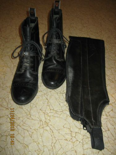 Used Women's Ariat Paddock Boots Size 8, Spurs, Half Chaps