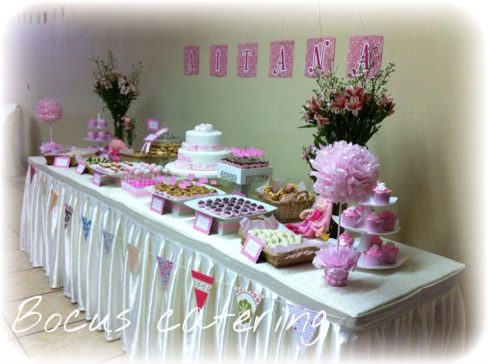 Baby shower vintage colores rosa y blanco accesorios vintage mu ecas de trapo carteles - Accesorios para catering ...