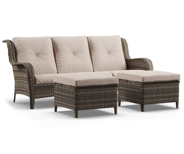 Oakmont All Sofaamp; Cushioned Piece In Set Wicker Ottomans3 Weather WY9IDH2E