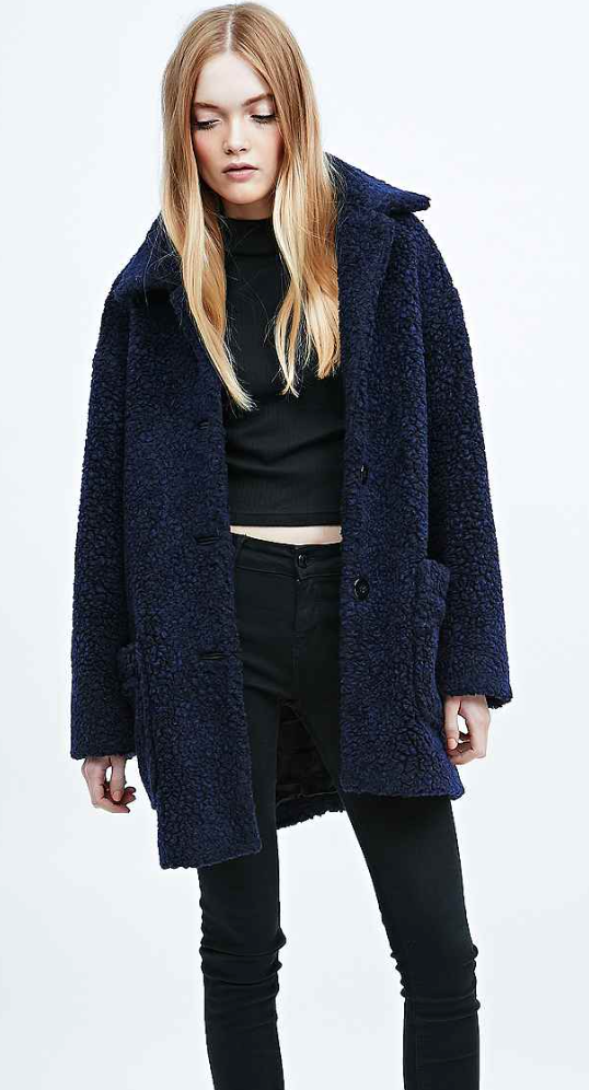 online shop save up to 80% new lifestyle Urban Outfitters Teddy Bear Coat in Navy | Teddy coat, Urban ...