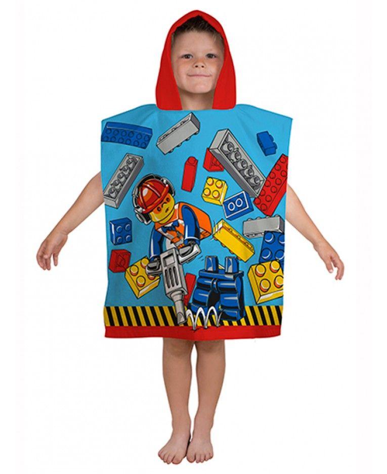 Beach Towel Hashtags: Lego City Construction Hooded Poncho Towel