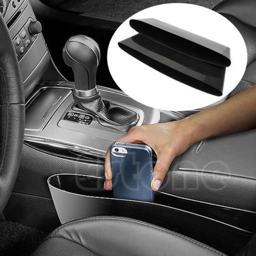 2PCS Black PU Leather Catcher Box Caddy Car Seat Gap Slit Pocket  Organizer Nice
