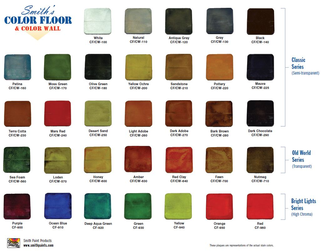 Smith Paint Products Water Based Concrete Stains Color Chart Shows Coloring Options From Their Classic Ser Concrete Stained Floors Stained Concrete Floor Stain