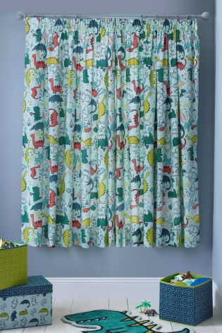 25c913f59272 Buy Dylan The Dinosaur Blackout Pencil Pleat Curtains from the Next UK  online…
