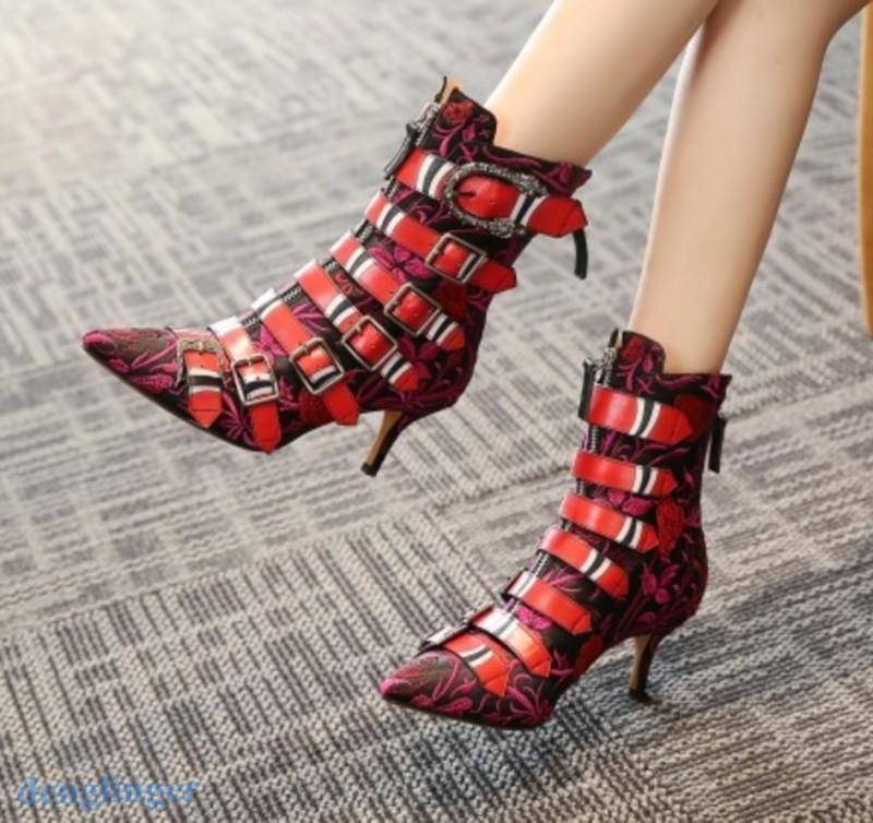 Women Pointer Toe Punk Kitten Heel Buckle Leather Ankle Boots Shoes Zipper Size