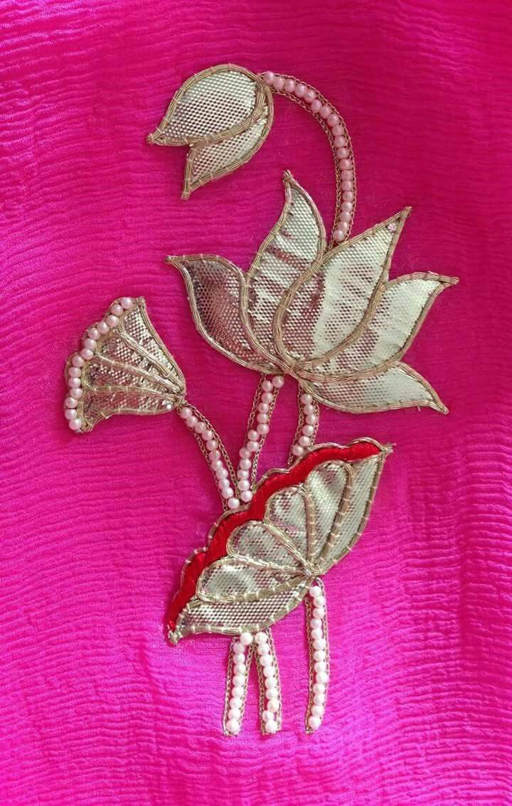 Lovely lotus work with gota patti samotcha pinterest lotus lovely lotus work with gota patti embroidery stitches tutorialhand embroidery designsbeaded bankloansurffo Images