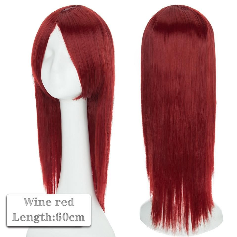 Photo of 60~80cm Cosplay Wig Long Wig Middle Part Hair Wig Cosplay Natural Wavy Heat Resistant Synthetic Wigs – wine red 1 / 60-80CM / United States