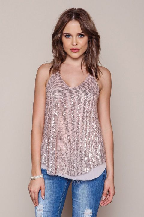 b32be0dc875a62 NYE Sparkly Tops - New Years Outfit Ideas - Sequin Chiffon Racerback Top,  $24.95; loveculture.com
