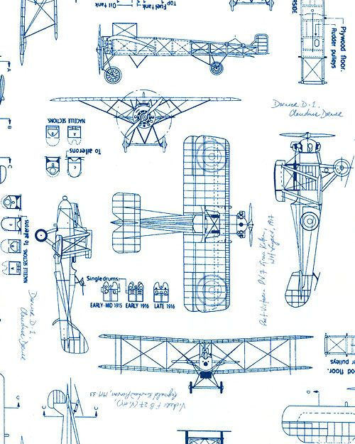 Vintage Blueprints Airplane Schematics White