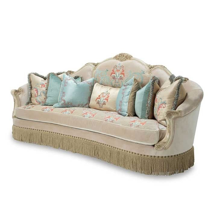 Chic and sophisticated, this Mansion Sofa from the Jasmine Collection presents elevated beauty in modern Rococo flair. Masterfully crafted with ornate details and vibrant upholstery, this mansion sofa will easily find its place in palatial living spaces with its whimsically regal feel. [$3,599.95]