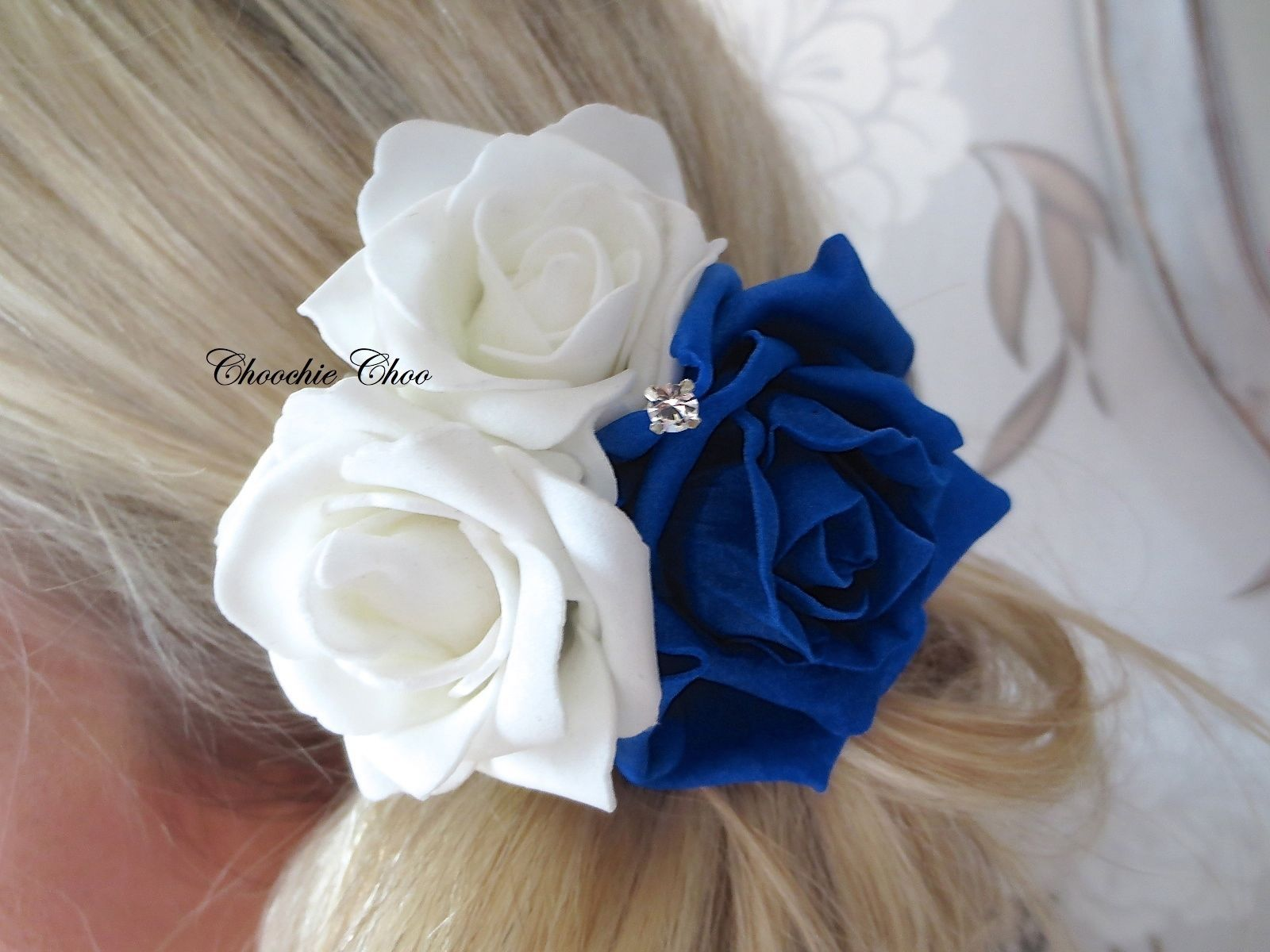 Cobalt royal blue white rose diamante flower corsage hair clip cobalt royal blue white rose diamante flower corsage hair clip bridal choochie izmirmasajfo Image collections