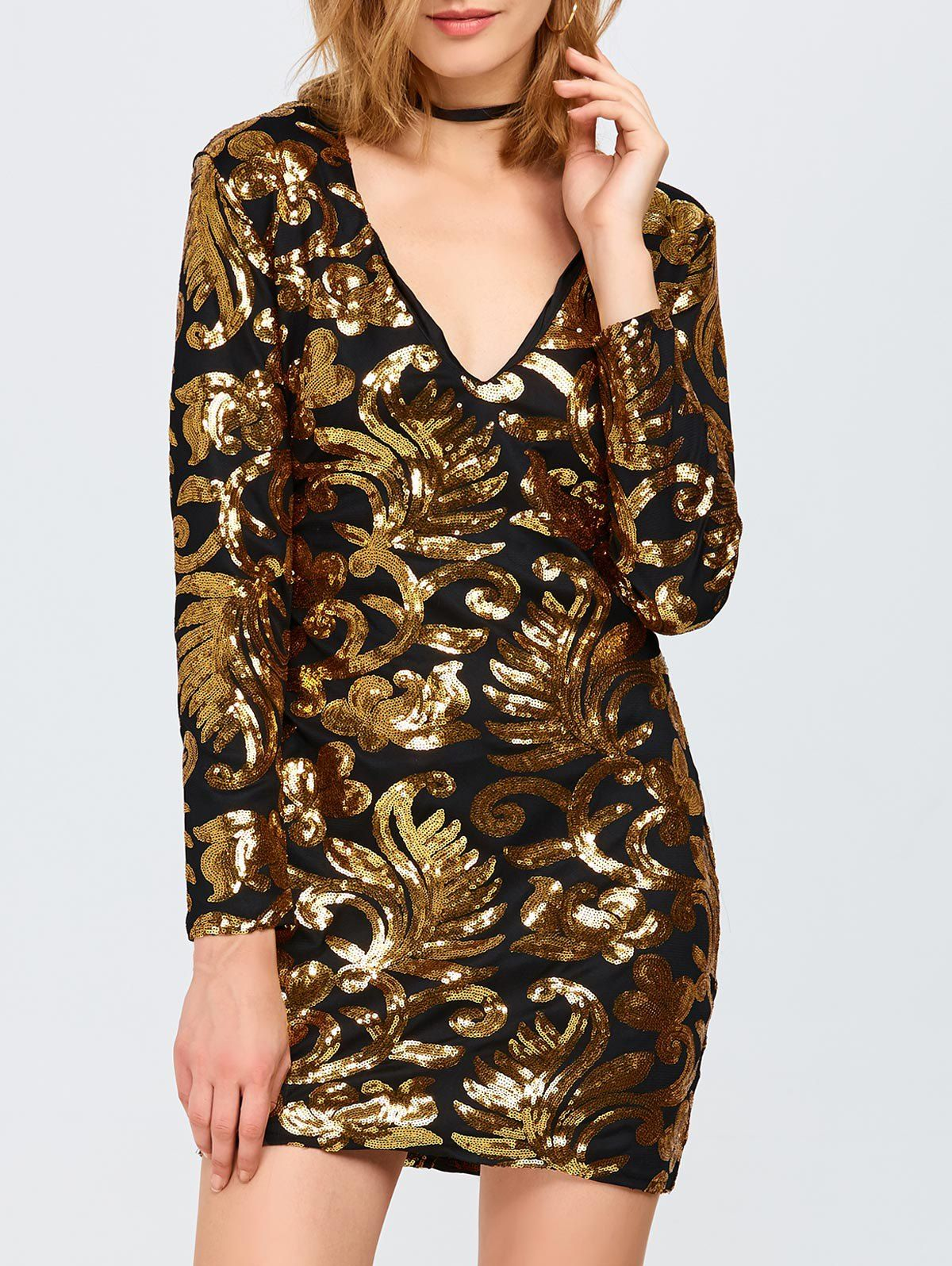 Long sleeve sequined sparkly dress color duo black u gold