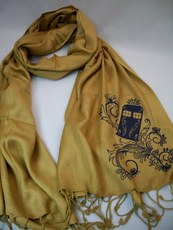 Henna Police Box Gold Pashmina Scarf by Geekiana on Etsy.