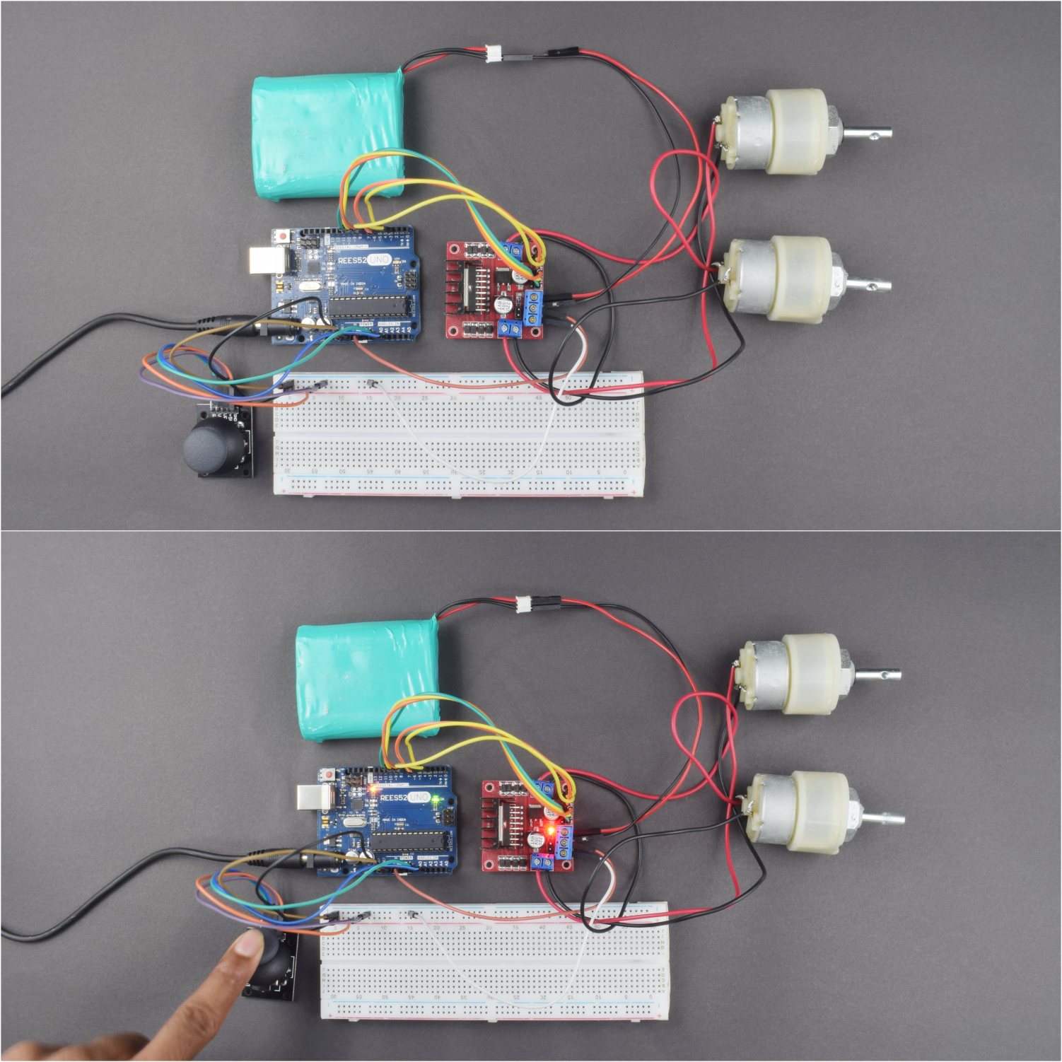 Control The Speed Of Motor By Joystick With L298N Motor