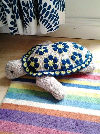 Free Knitting Style Crochet African Flower Turtle Pattern Crochet
