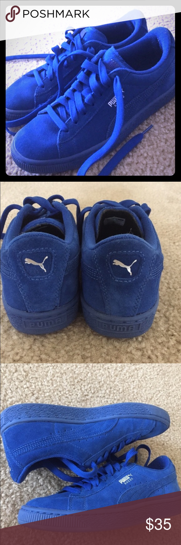 01a3f0fcaa9 Puma Suede Classic Royal Blue Gently worn shoes. Size 5.5 men s (so 7.5  womens) Puma Shoes Sneakers