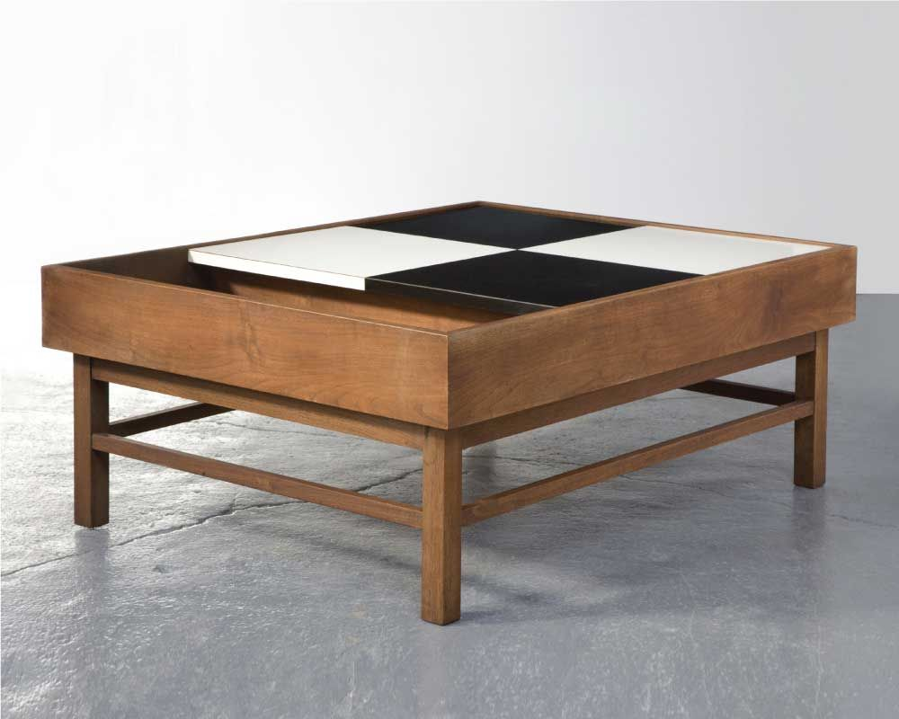 Coffee table in walnut and black & white laminate Attributed to
