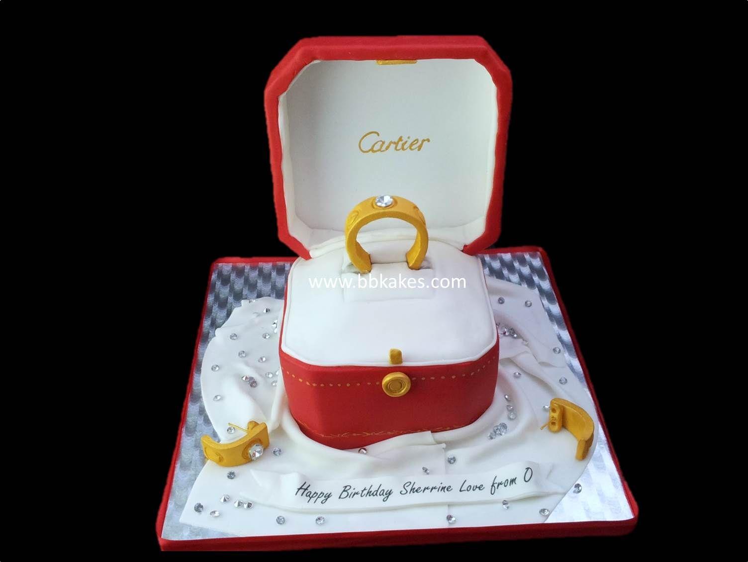 Cartier Love Diamond Ring Cake With Earings Bbkakes Cakes