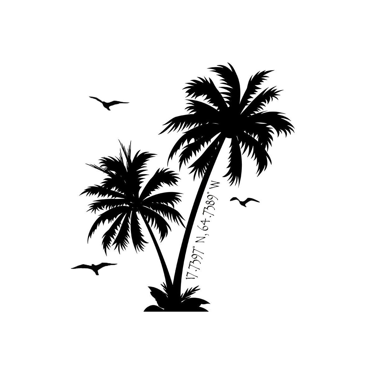 Palm Tree Island: Palm Trees With St. Croix, Virgin Islands Coordinates