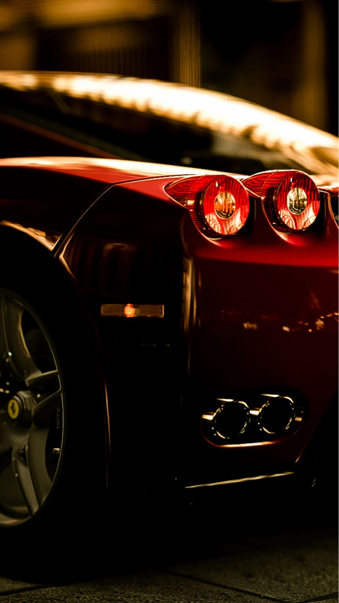 Ferrari Rear Lights View Iphone  Wallpaper