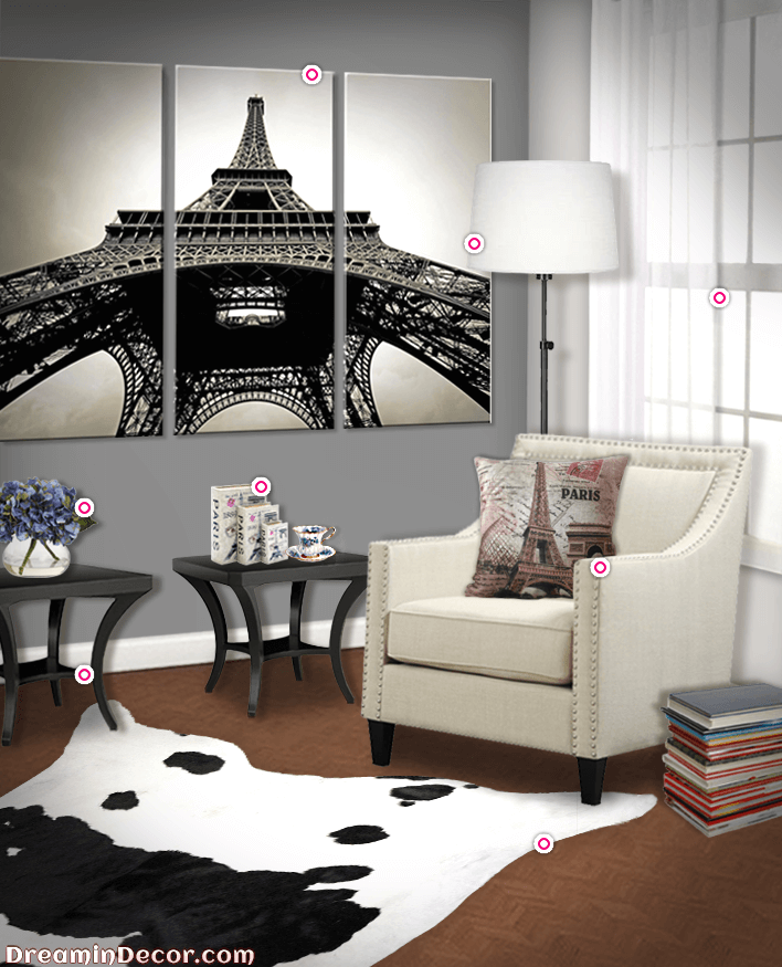 how to create a paris themed living room with an authentic parisian charm dreamindecor paris. Black Bedroom Furniture Sets. Home Design Ideas