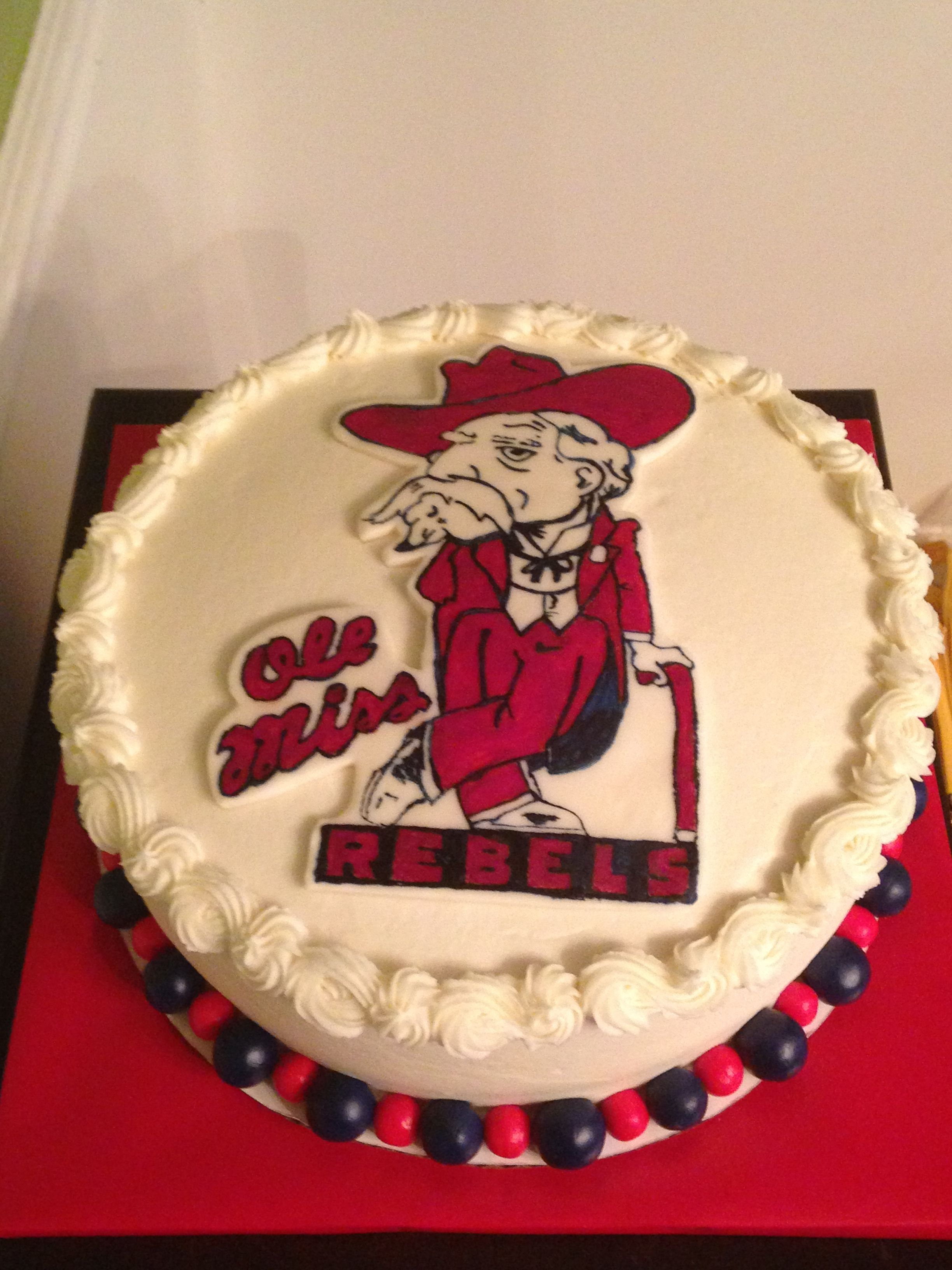 Pleasing Ole Miss Rebels Cake Created By Twisted Sister Cakes Funny Birthday Cards Online Fluifree Goldxyz