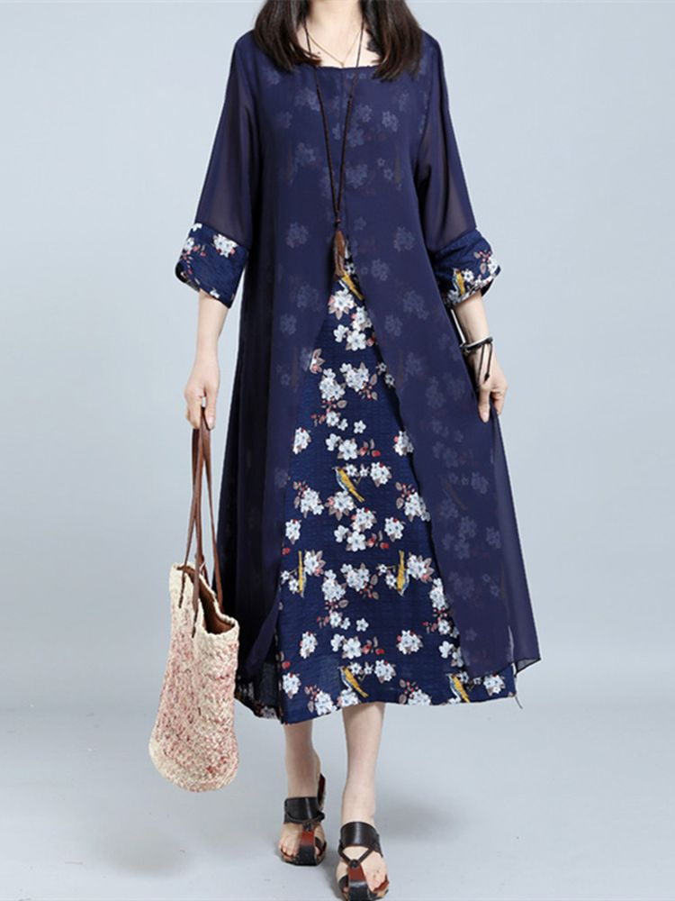 b4081f32fa9005 Sale 16% (26.69 ) - Retro Women Random Floral Printed Fake Two Pieces 3 4  Sleeve Maxi Dresses