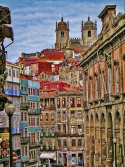 Porto. Old town and the cathedral.