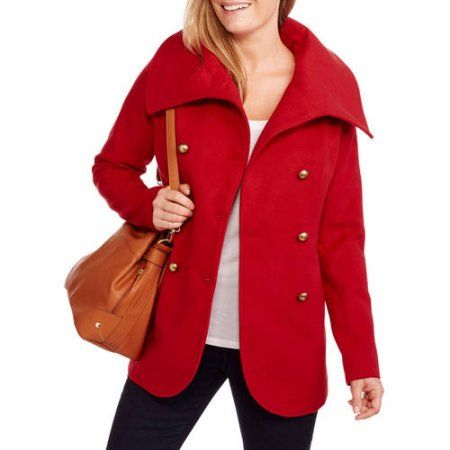 0c5f2aac00bb0 Maxwell Studio Women s Tulip Faux Wool Double-Breasted Peacoat