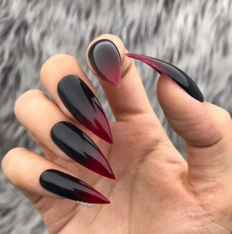 Black And Red Ombre Nails Halloween Nails Glue On Nails Red Ombre Nails