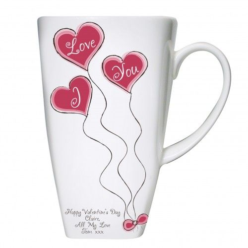 Personalised Heart Balloon Tall Latte Mug  Valentines Day Gift Ideas