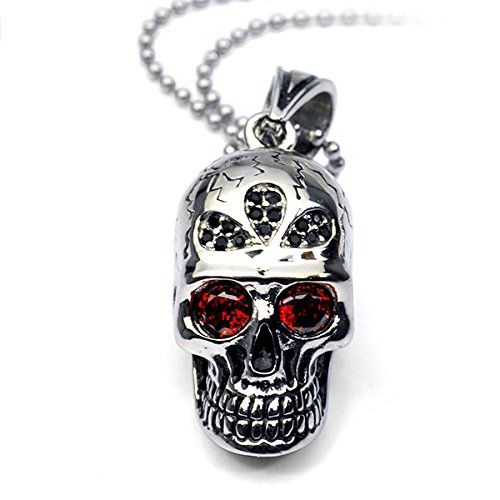 ICE CARATS Stainless Steel Enameled Skull Dog Tag 24 Inch Chain Necklace Pendant Charm Gothic Fashion Jewelry Gifts for Women for Her