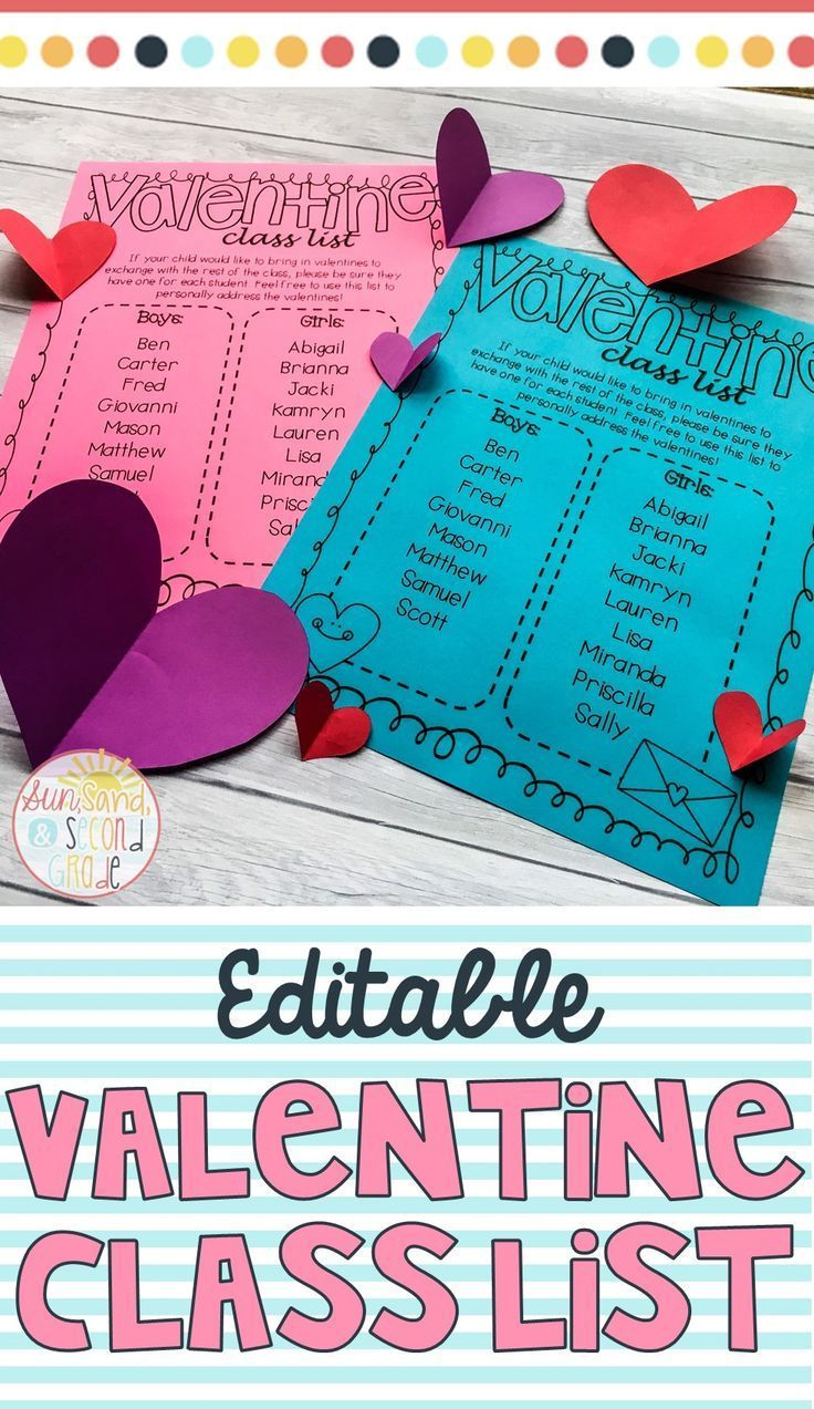 Valentines Day Class List - Editable | Students, Kindergarten and Math