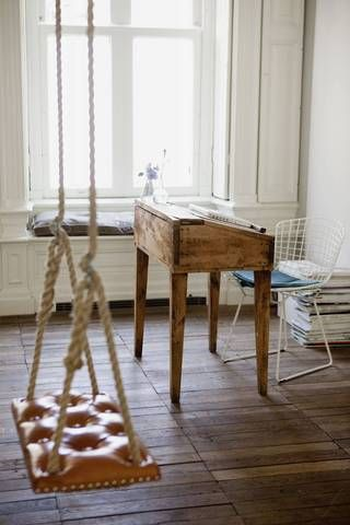 Small Home Office Desk wood desk with white chair