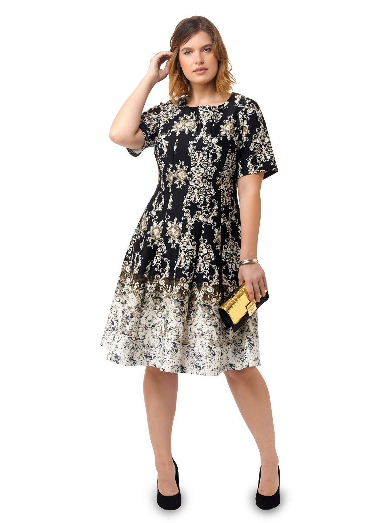 Fit & Flare Scuba Dress In Ornate Print by Julian Taylor ...