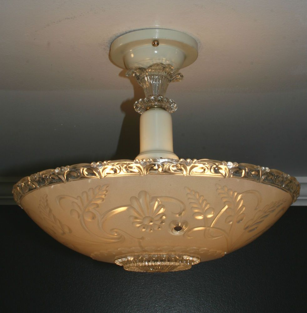 Conical 16 Drum Semi Flush Fixture In 2019: Details About Antique 16 Inch Frosted Glass Art Deco Semi