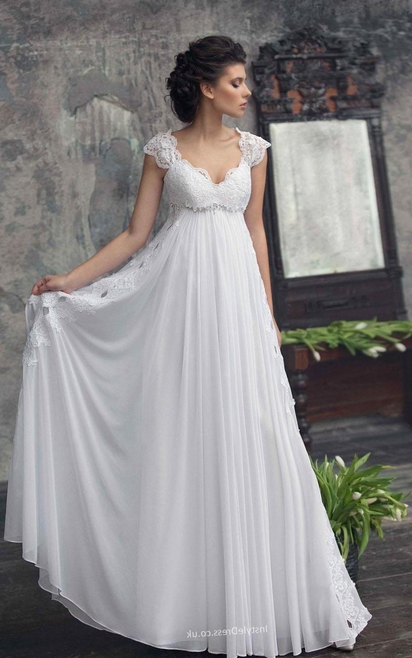 Plus Size Wedding Dresses 2018 Empire Waist Empire Waist Wedding Dresses With Cap Slee Empire Wedding Dress Pregnant Wedding Dress Empire Waist Wedding Dress