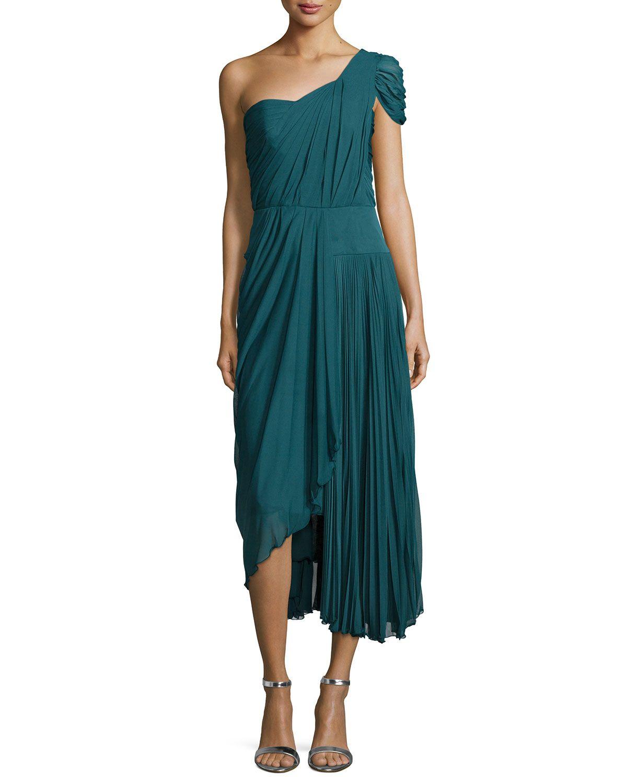 Green dress one shoulder  J Mendel OneShoulder Asymmetric Pleated Dress Empress Green