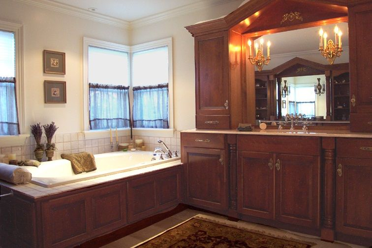 newest f6587 95a34 Cherry Wood Bathroom - cherry wood vanity with a valance ...