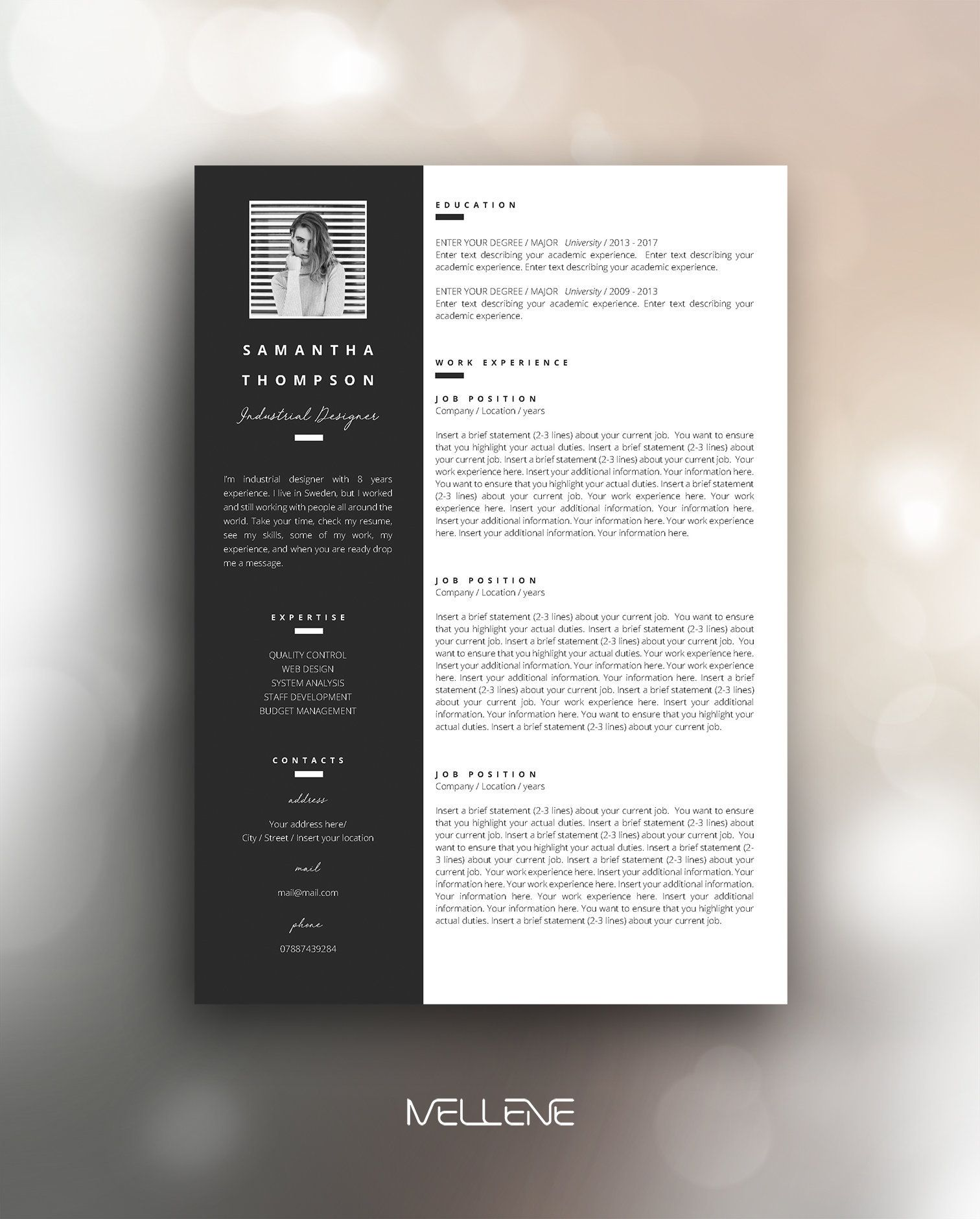resume template 3 page / cv cover letter example word download ms office format waiter summary
