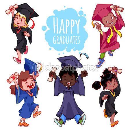 Ninos Muy Felices Graduados En Vestidos Y Con Un Diploma En La Mano Graduados Ninos Feliz