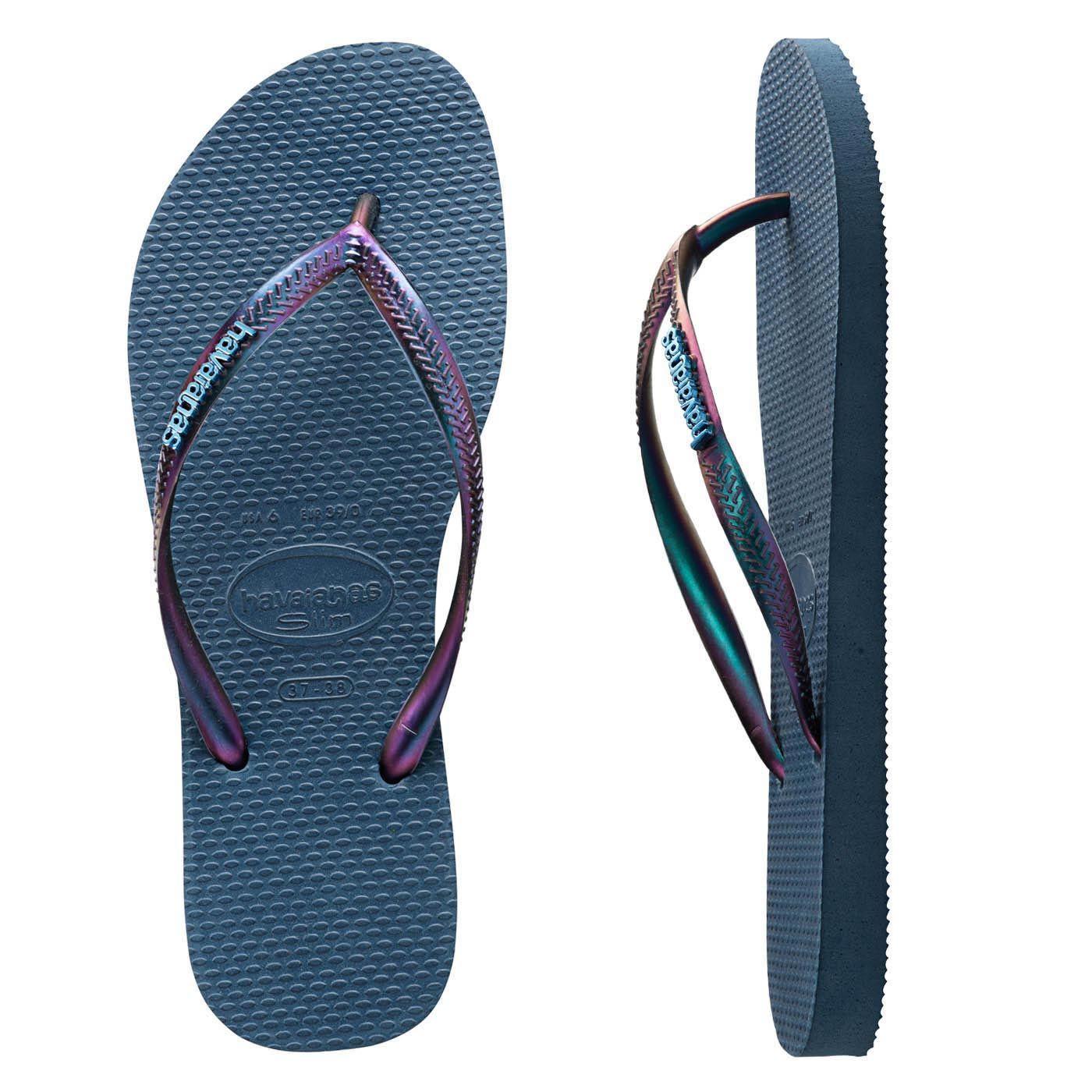 df747338b Flip Flops · Metallic · Outfit · Havaianas Slim Furta Cor Indigo Blue  Thongs. Classic Indigo blue Havaianas featuring a duo metallic
