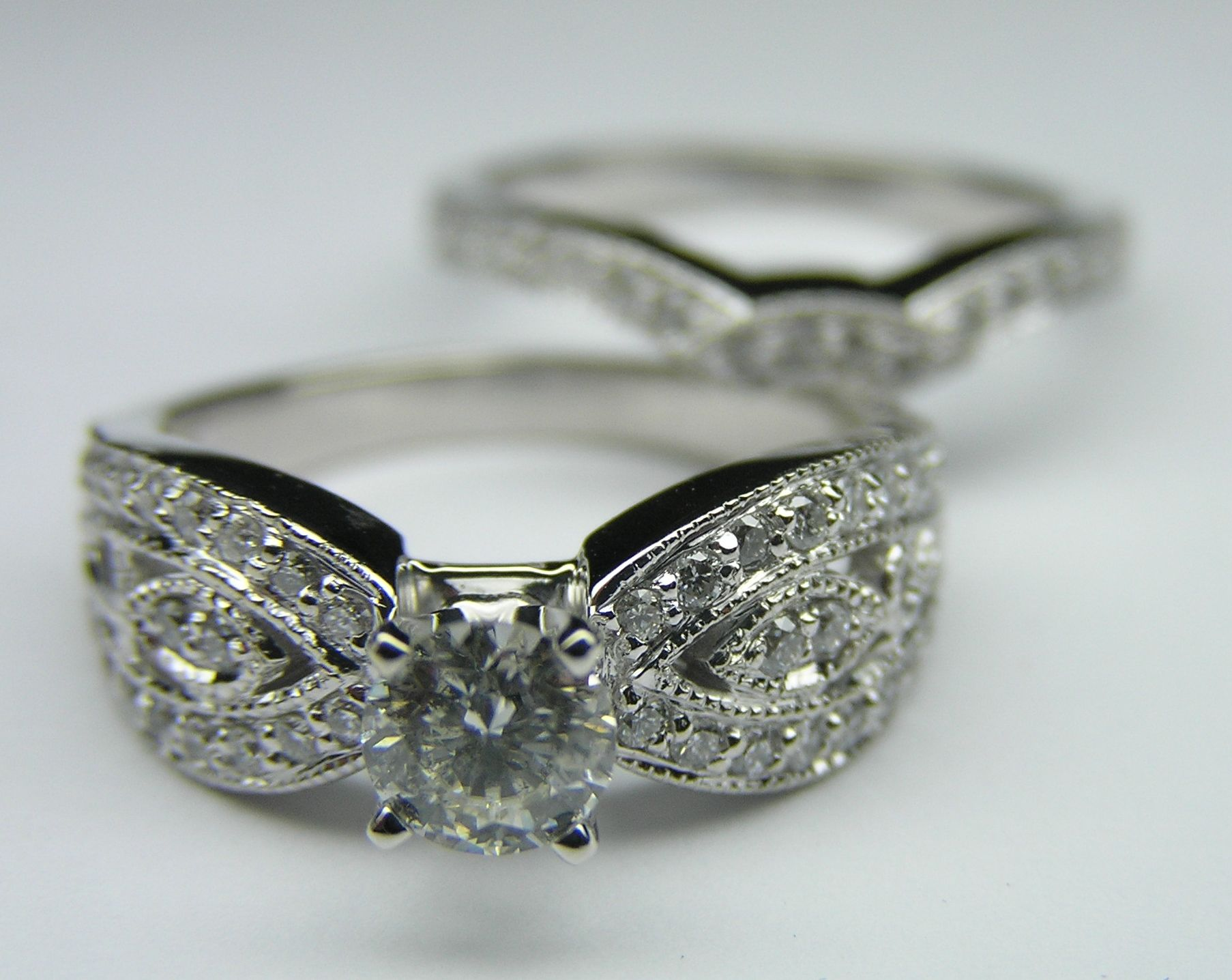 Butterfly Engagement Ring & matching Wedding band