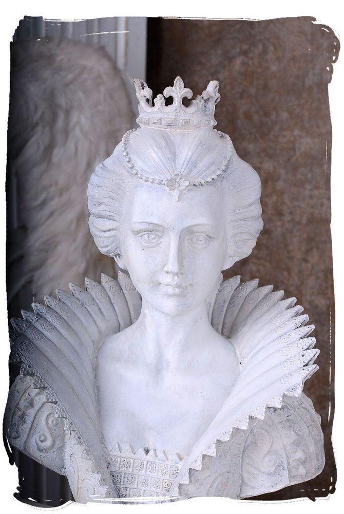 Frauenbüste Renaissance Büste weiss Mädchenkopf Königin Vintage Tudorstil Dame