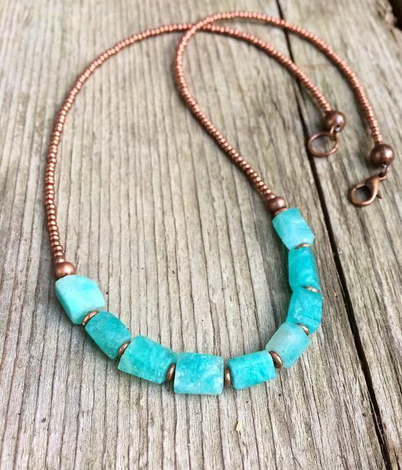 Photo of Blue Raw Amazonite Necklace, Amazonite Jewelry, Boho Beaded Stone Necklace, Copper Necklace