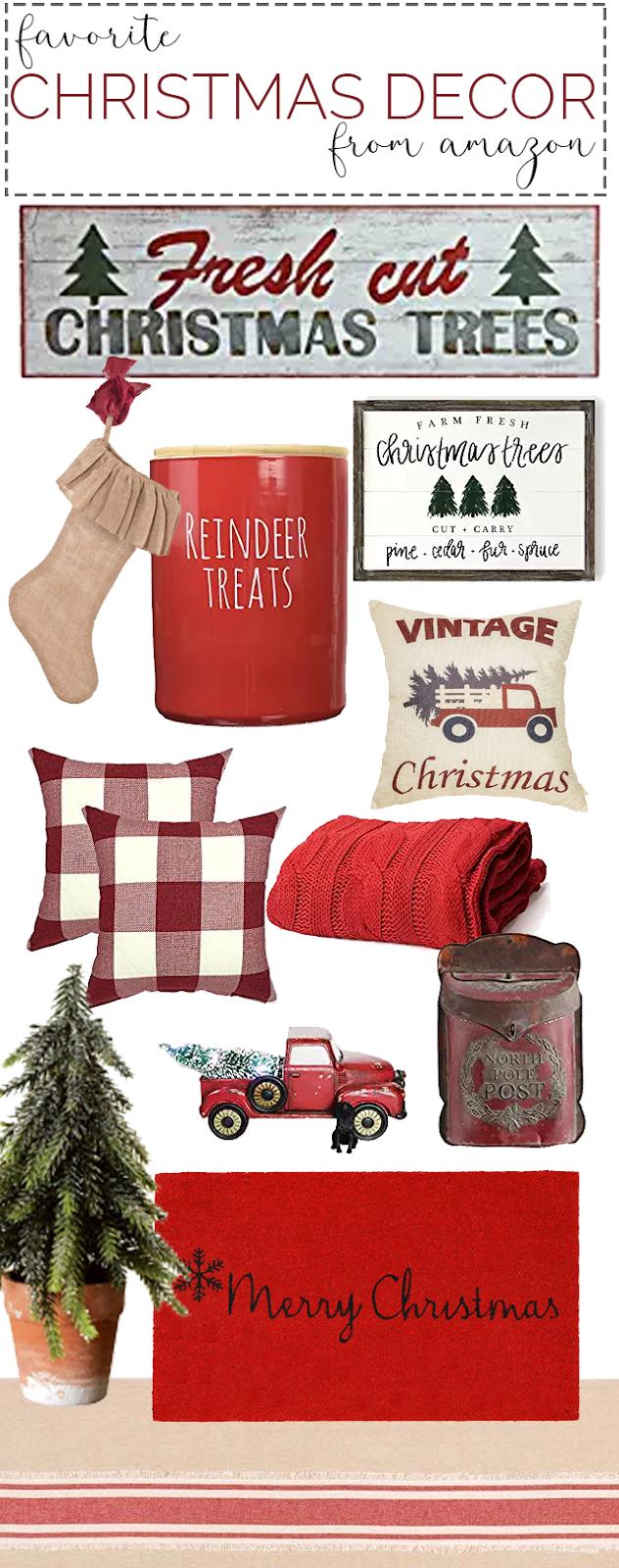Christmas Decor From Amazon Favorite Christmas Decor Christmas Decorating Ideas Red Chri In 2020 Red Christmas Decor Christmas Decorations Farmhouse Style Christmas