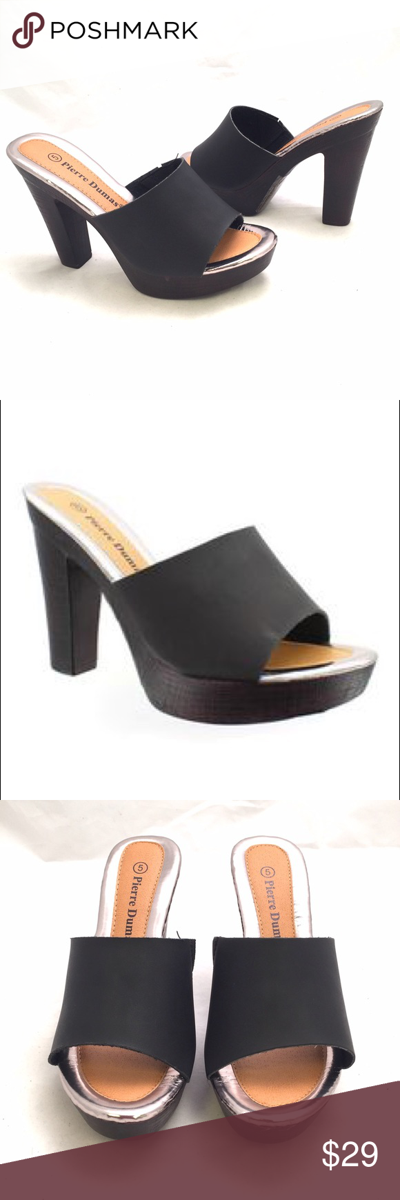 Pierre Dumas Casual Heels Dress it up or pair with your fav jeans, these adorable sandal heels are an instant fav. Featuring a wood-like heel and a simple strap on front, you can't miss out on these. Heel measures 4.25' and platform almost 1'. Medium width and true to size. Pierre Dumas Shoes Heels
