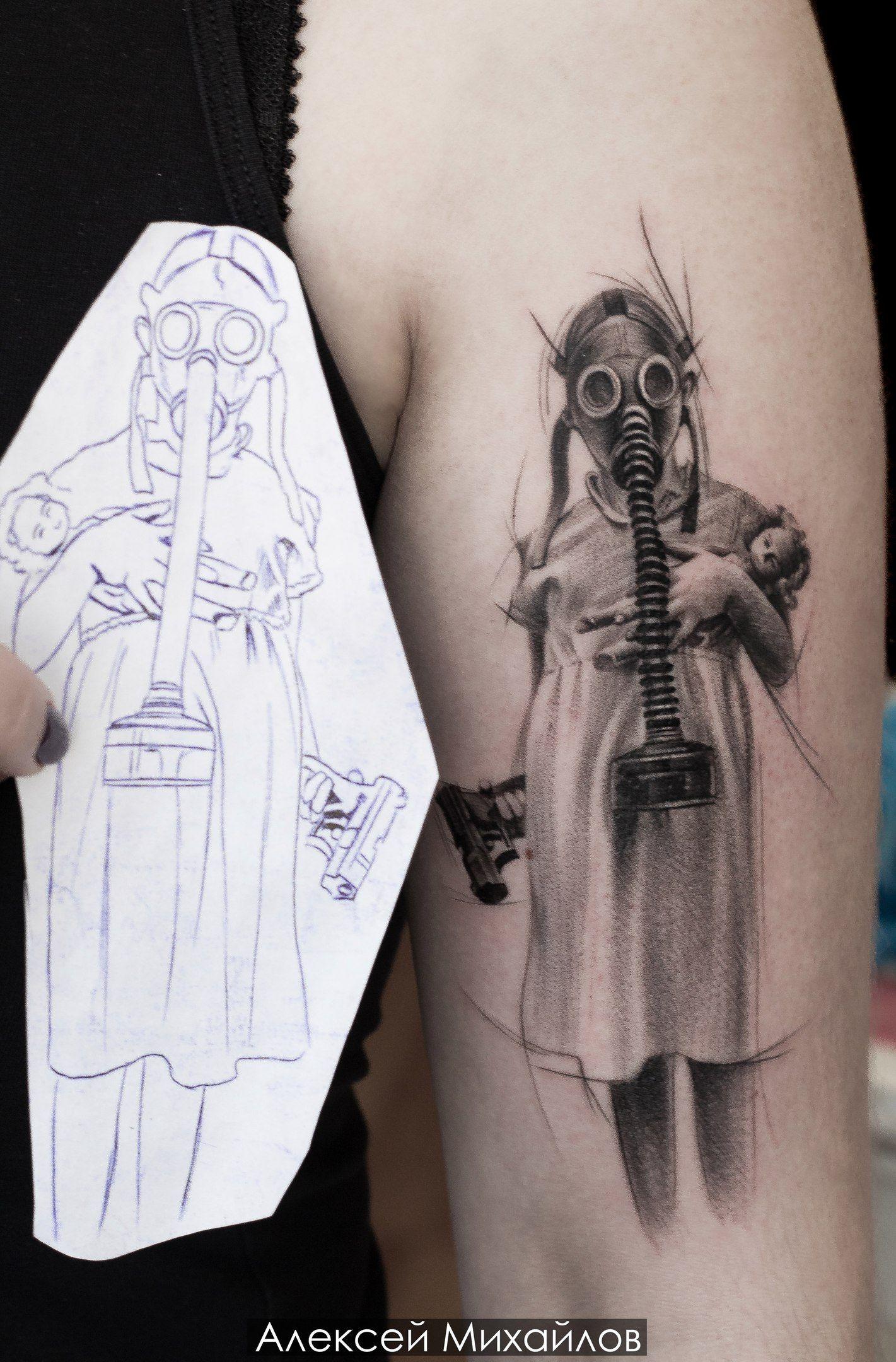 Tattoo realismsketch girl with gun by alexey mikhailov ift