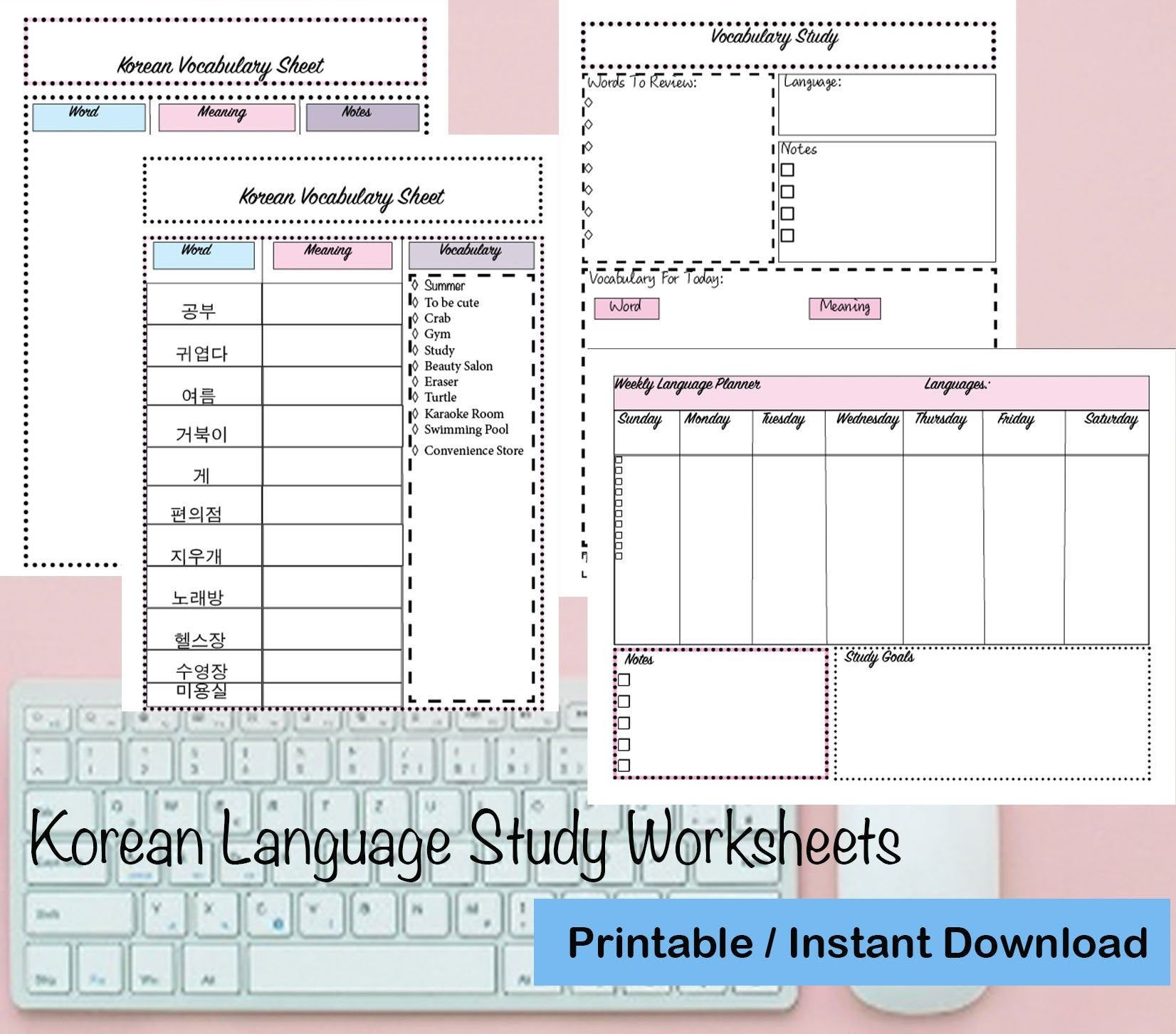 Korean Language Study Worksheets Instant Download